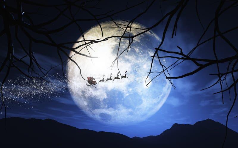 圣诞老人和他的雪橇飞行在被月光照亮天空 向量例证