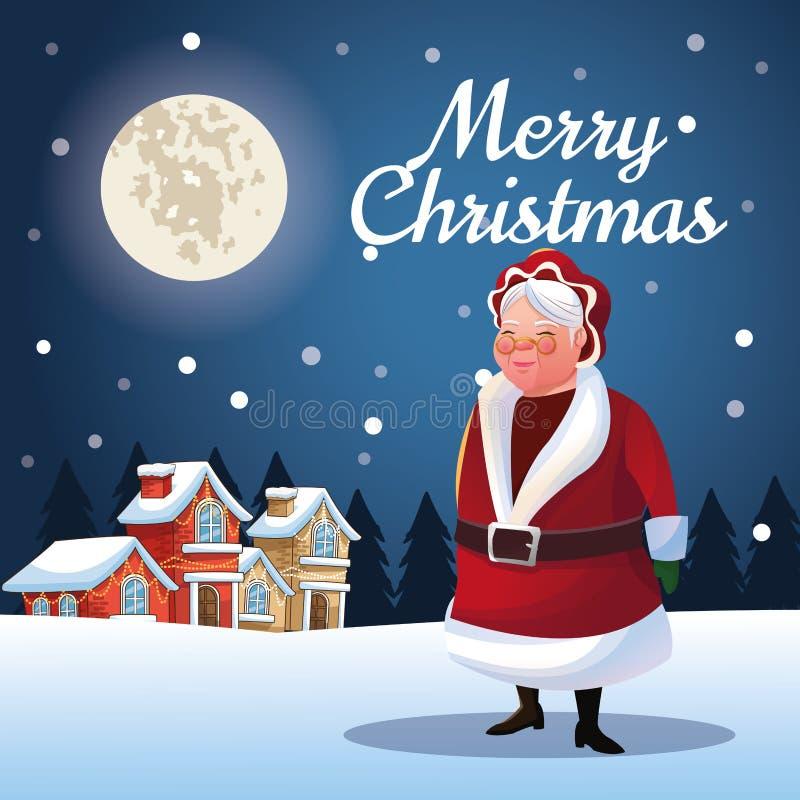 圣诞老人圣诞节季节妻子动画片  库存例证