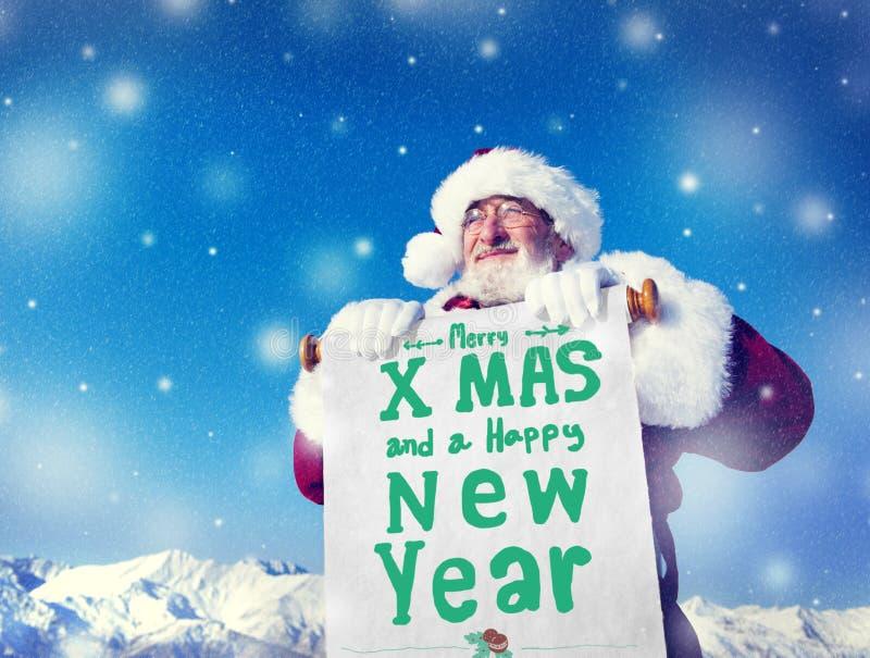 圣诞老人圣诞节新年纸卷概念 免版税库存照片