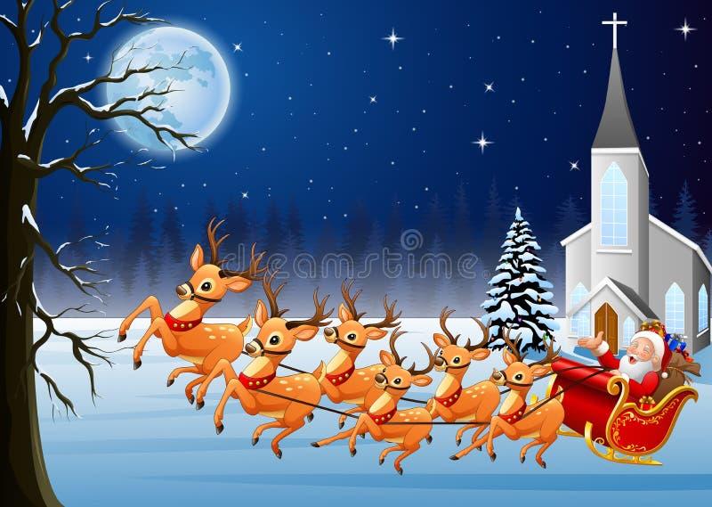 圣诞老人在圣诞夜乘坐在教会前面的驯鹿雪橇 库存例证