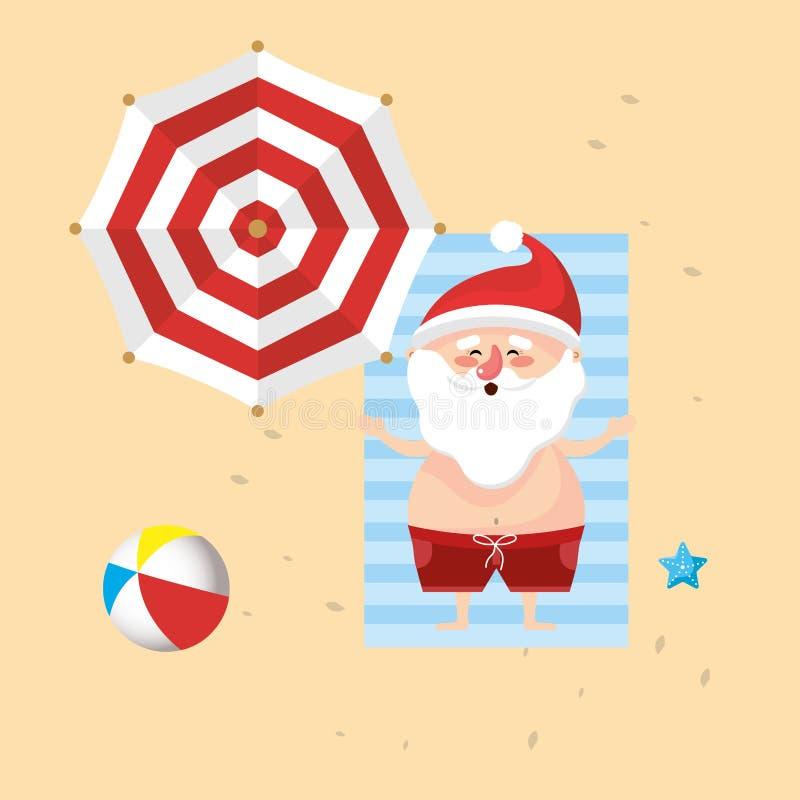 圣诞老人在暑假假期 库存例证