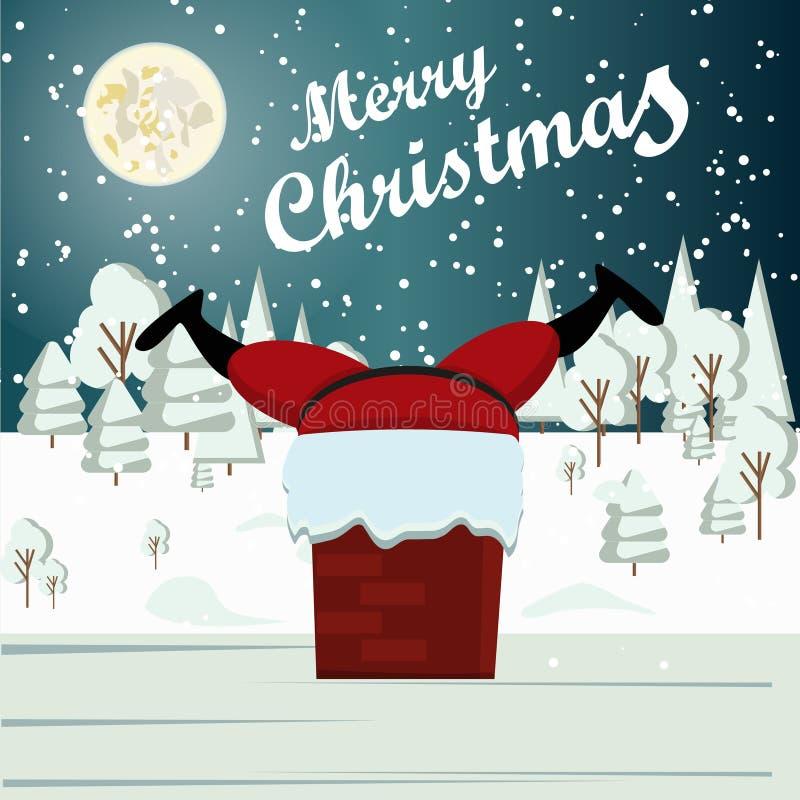 圣诞老人在烟囱冬天雪都市乡下风景黏附了 皇族释放例证