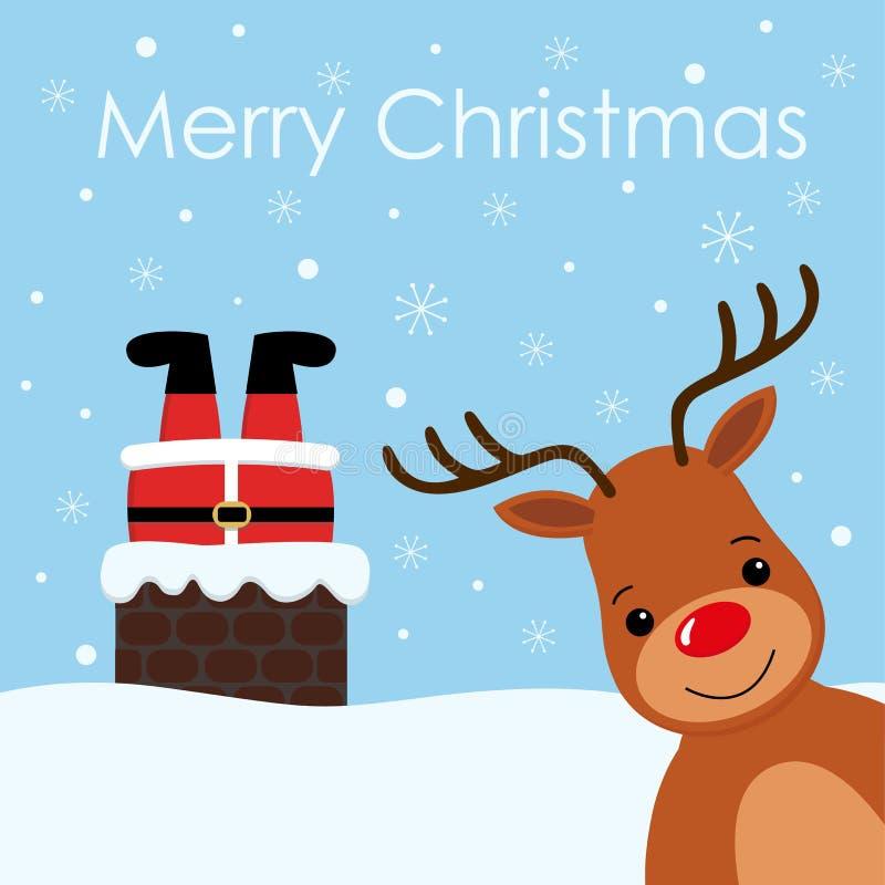 圣诞老人在烟囱葡萄酒驯鹿微笑雪背景中黏附了 库存例证
