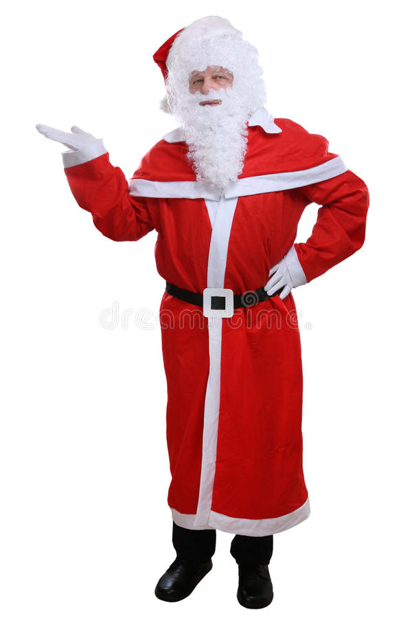 圣诞老人在白色隔绝的圣诞节陈列 免版税库存照片