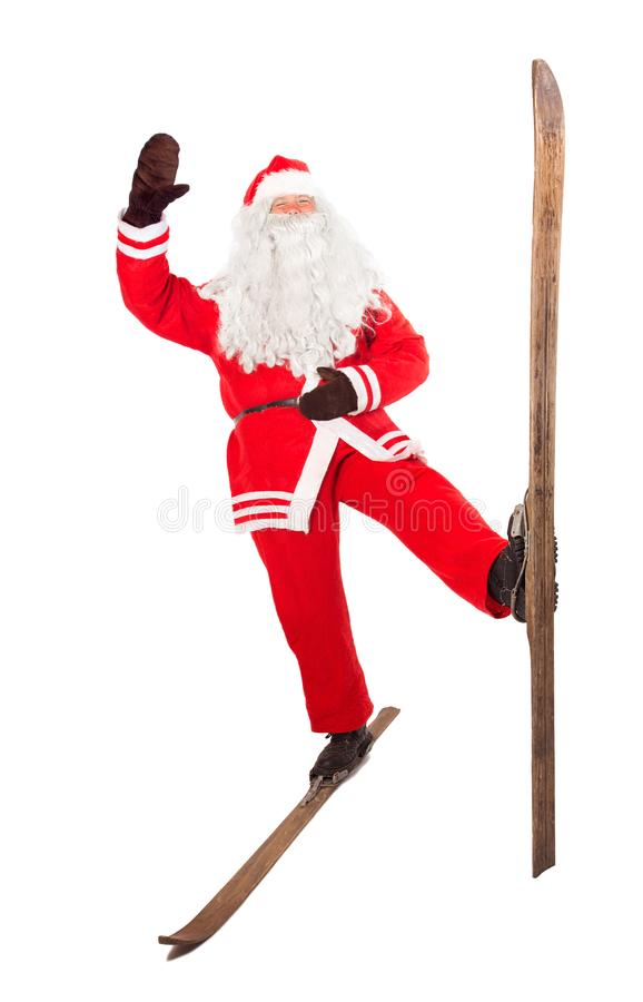 圣诞老人在老减速火箭的滑雪站立 库存照片