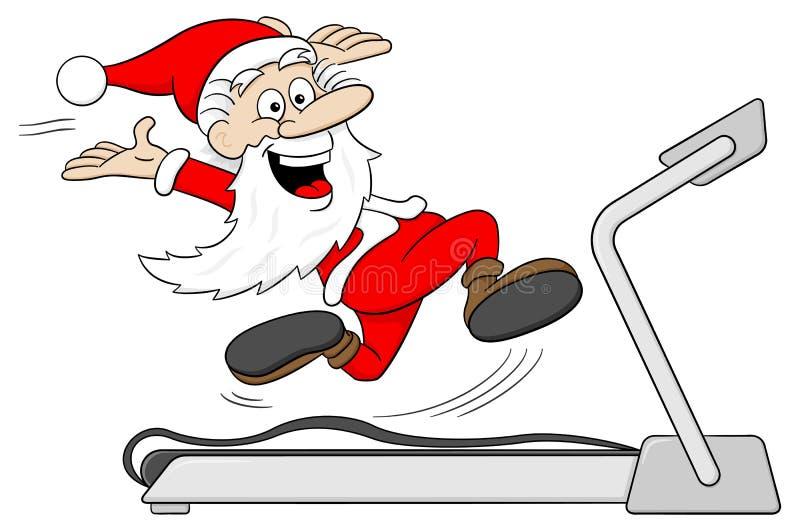 圣诞老人在踏车跑步 皇族释放例证