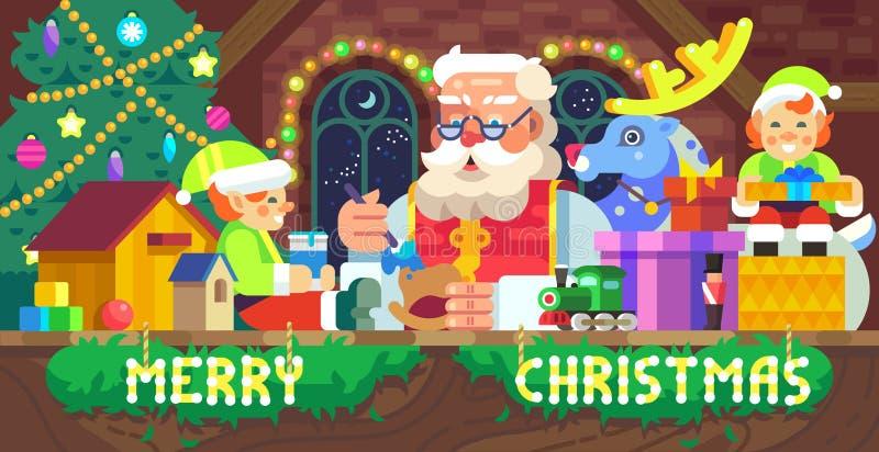 圣诞老人在车间 向量例证