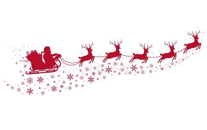圣诞老人在雪橇和与驯鹿 向量例证