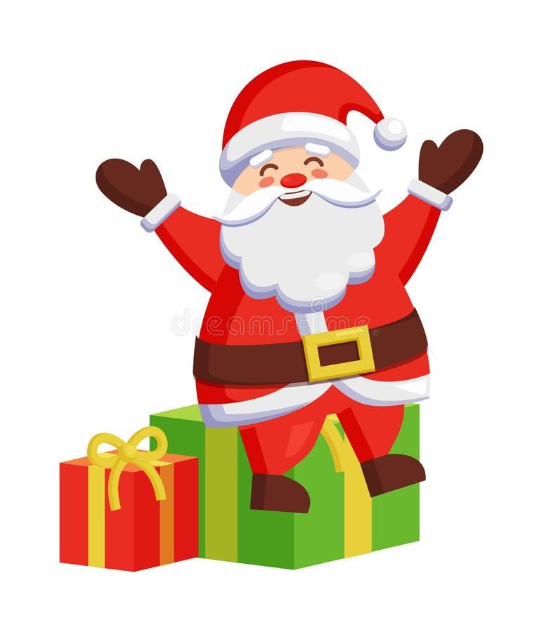 圣诞老人坐五颜六色的礼物盒象 向量例证