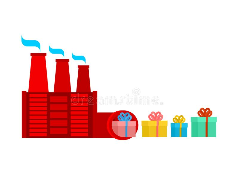 圣诞老人工厂 礼物的生产 圣诞节产业 Ve 向量例证