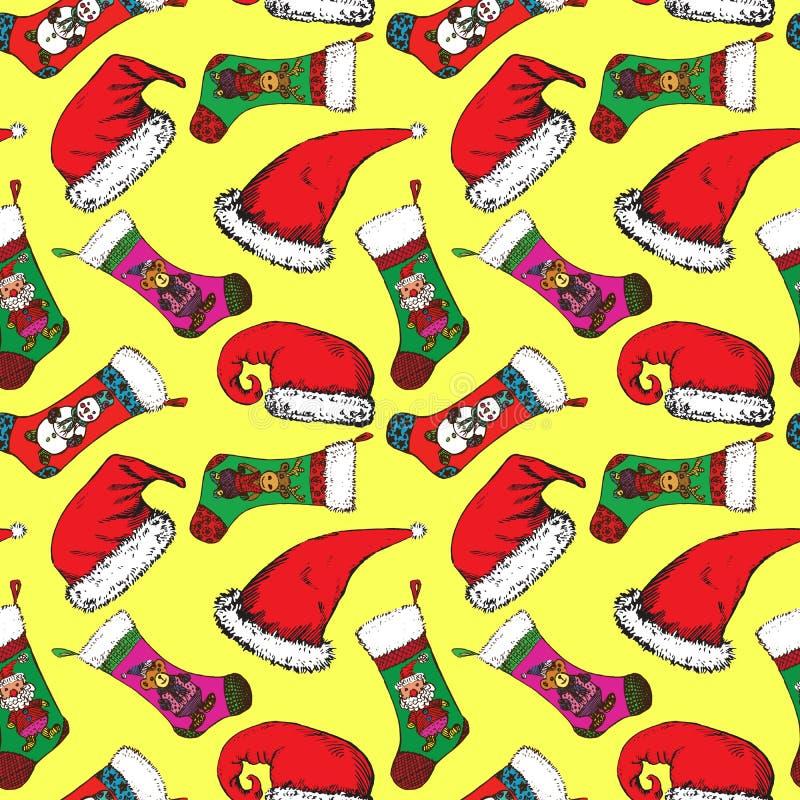 圣诞老人帽子、圣诞节袜子与圣诞老人,熊、鹿和雪人在黄色背景 库存例证