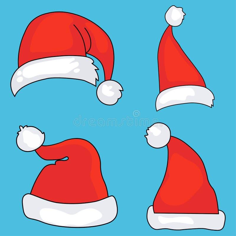 圣诞老人帽子动画片圣诞节有传染媒介图象的服装盖帽 向量例证