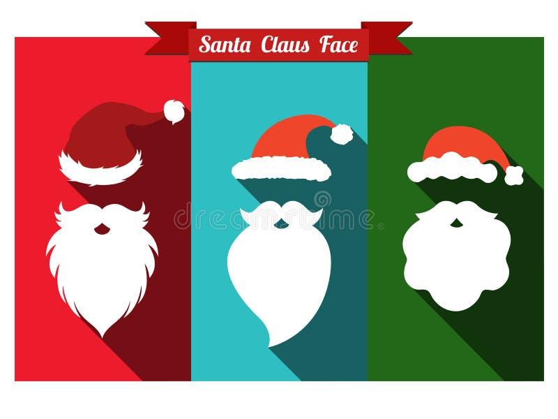 圣诞老人帽子和胡子平的象与长的阴影 向量例证