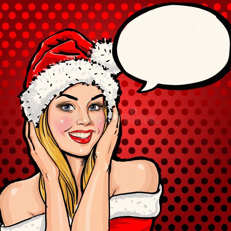圣诞老人帽子的女孩有在红色背景的讲话泡影的 库存例证