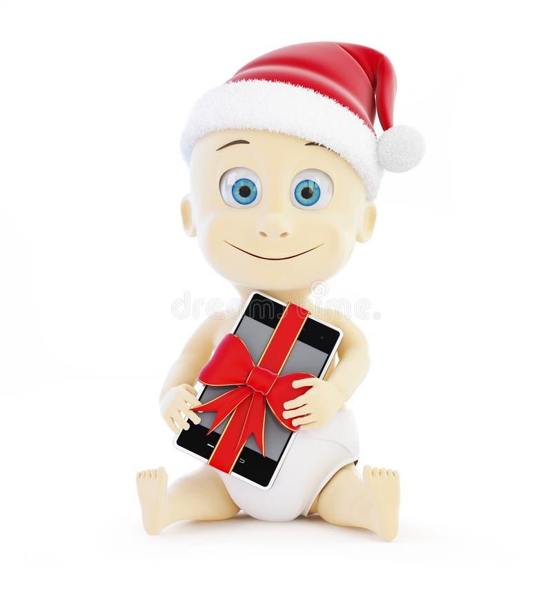 圣诞老人帽子的,礼物电话孩子 库存例证
