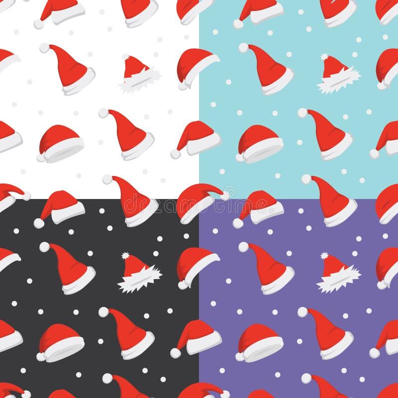圣诞老人帽子背景 圣诞节模式无缝的向量 新年动画片红色帽子 向量例证