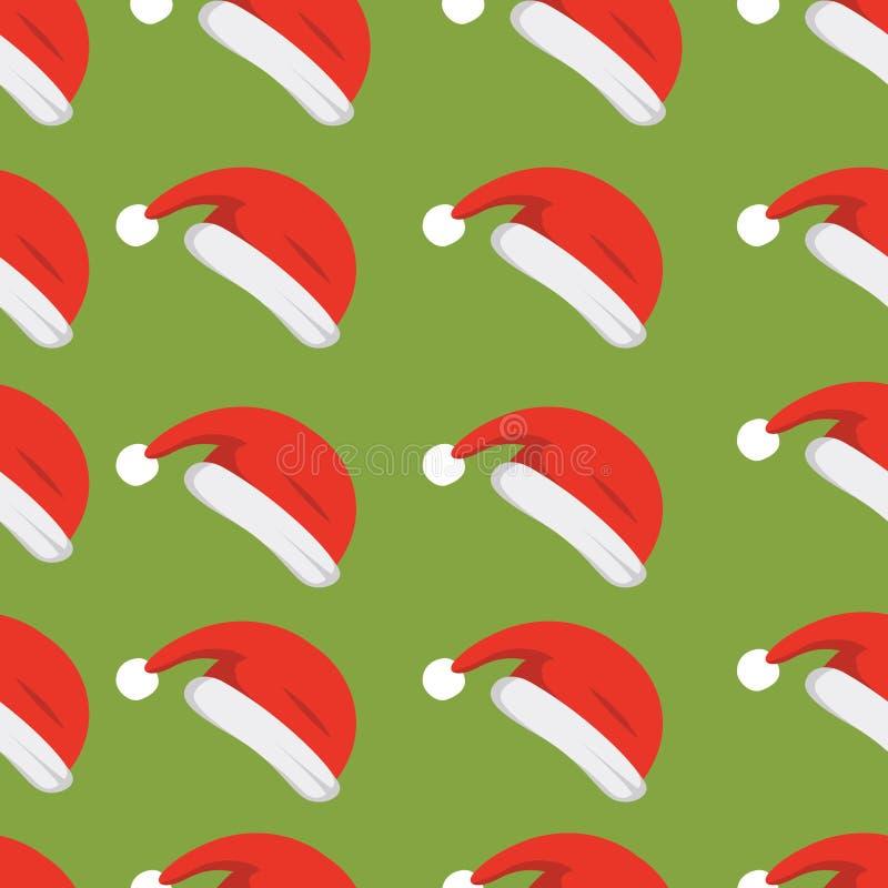 圣诞老人帽子背景 圣诞节模式无缝的向量 新年动画片红色帽子 皇族释放例证