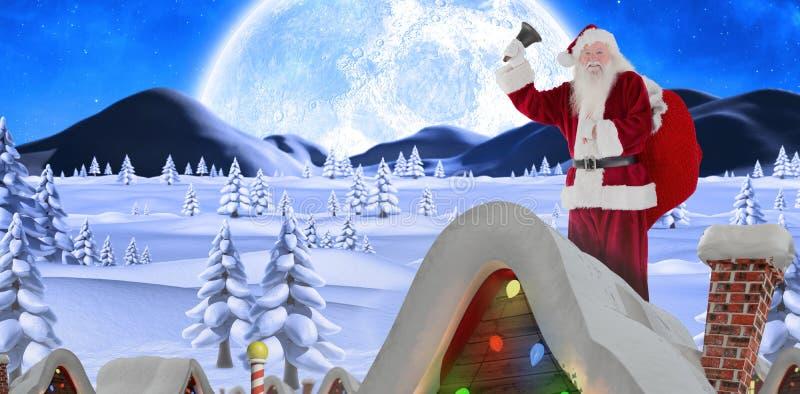 圣诞老人敲响的响铃的综合图象 免版税库存照片
