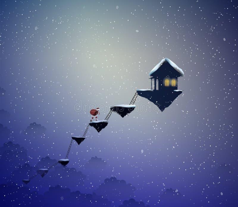 圣诞老人方式,圣诞老人在理想国,圣诞老人去飞行岩石的,在天堂的圣诞节,圣诞老人场面房子, 库存例证