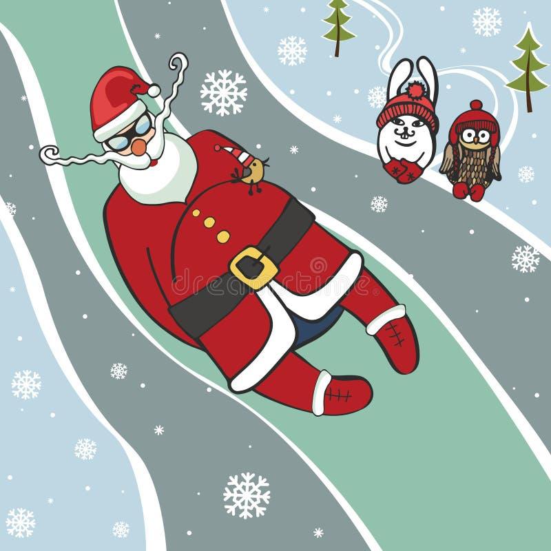 圣诞老人无舵雪橇竟赛者 幽默例证 冬天 向量例证