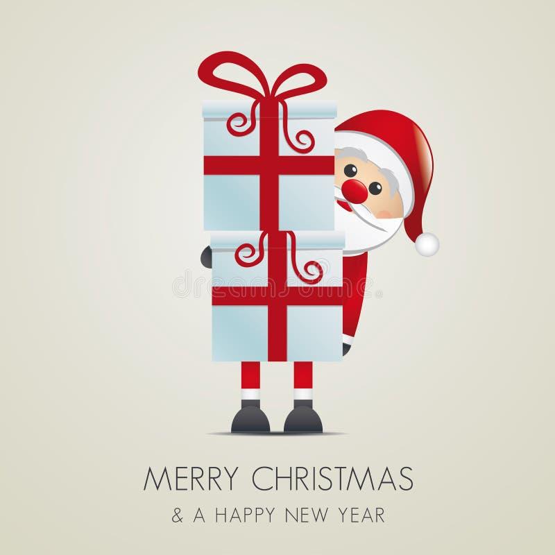 圣诞老人暂挂礼物盒 库存例证