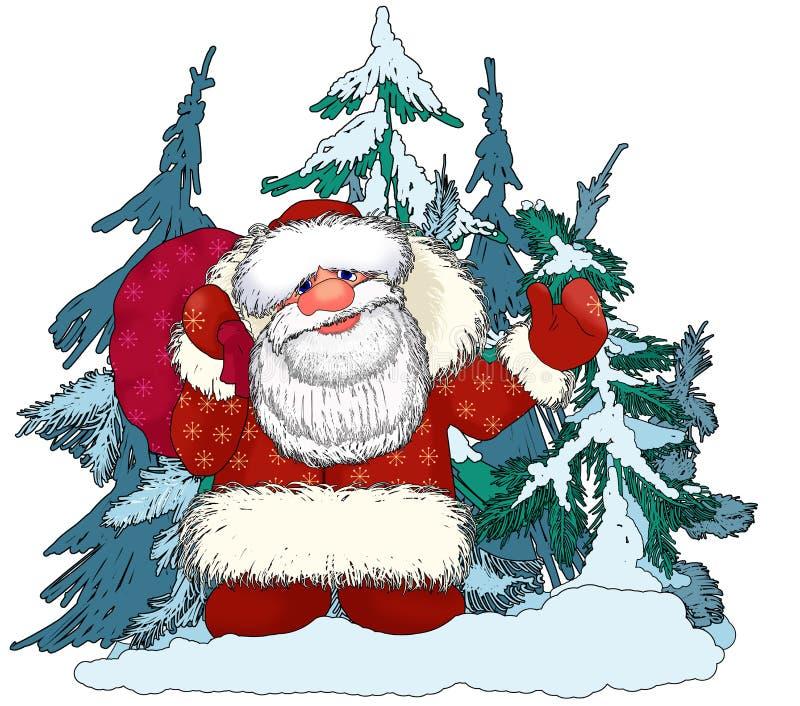 圣诞老人有礼物的Ded莫罗兹在神仙的森林里 向量例证