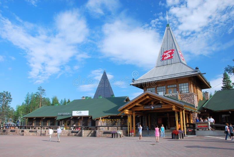 圣诞老人村庄北极Cirkle罗瓦涅米拉普兰芬兰 图库摄影