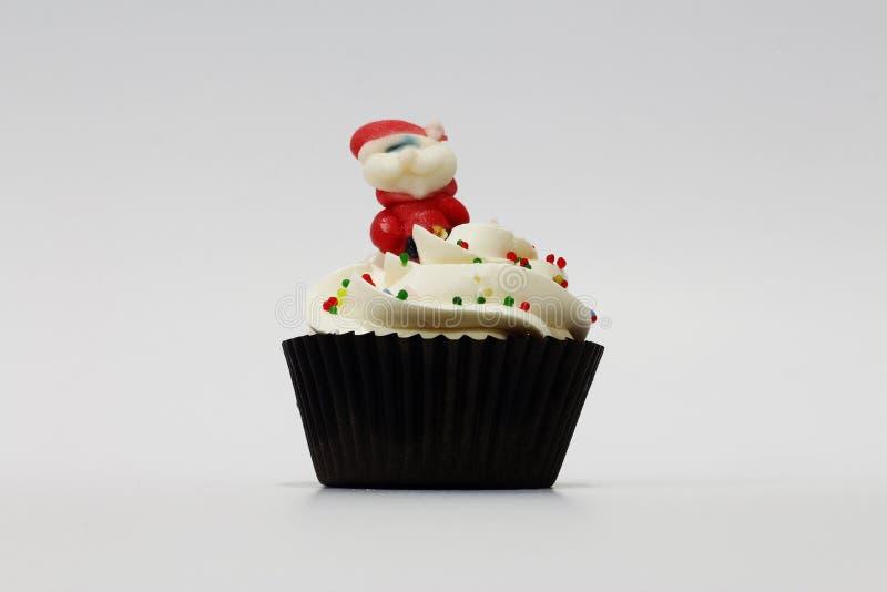 圣诞老人杯形蛋糕 库存照片