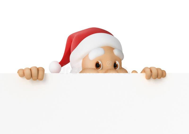 圣诞老人查找在纸张外面 向量例证