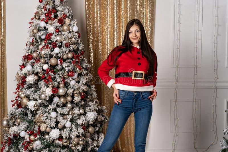圣诞老人毛线衣的美女在装饰圣诞树摆在以后,看照相机 库存图片