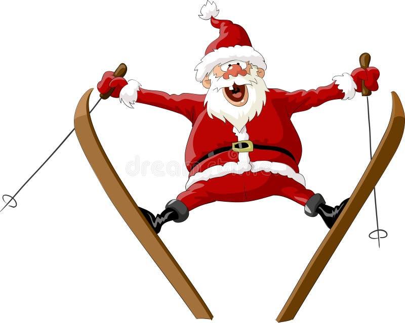 圣诞老人滑雪 库存例证