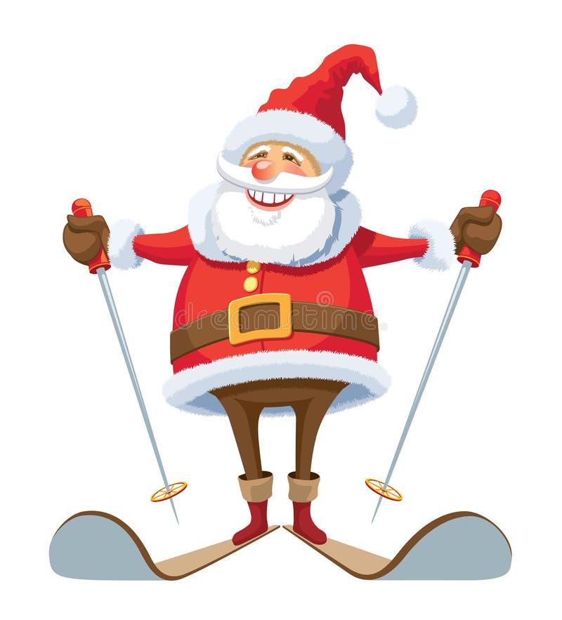 圣诞老人滑雪 皇族释放例证