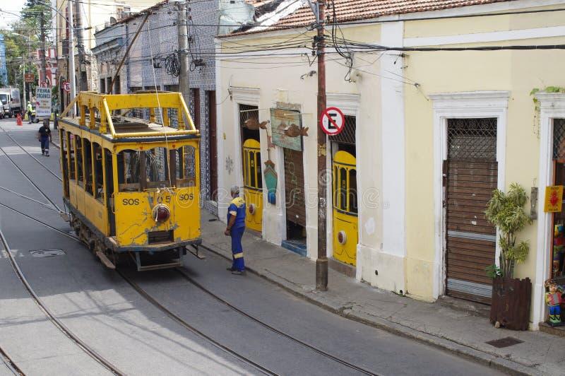 圣诞老人特里萨电车在里约热内卢 图库摄影