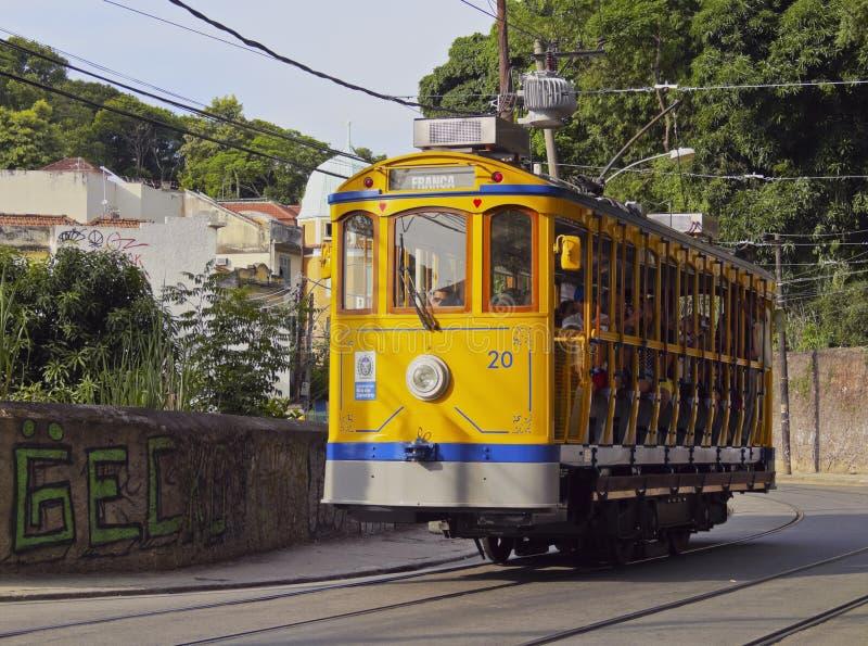 圣诞老人特里萨电车在里约 免版税库存图片