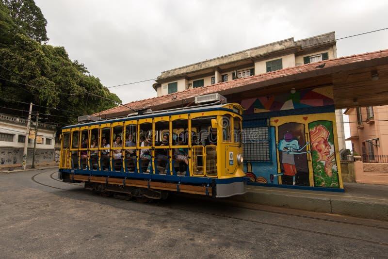 圣诞老人特里萨Classim电车在里约热内卢,巴西 图库摄影