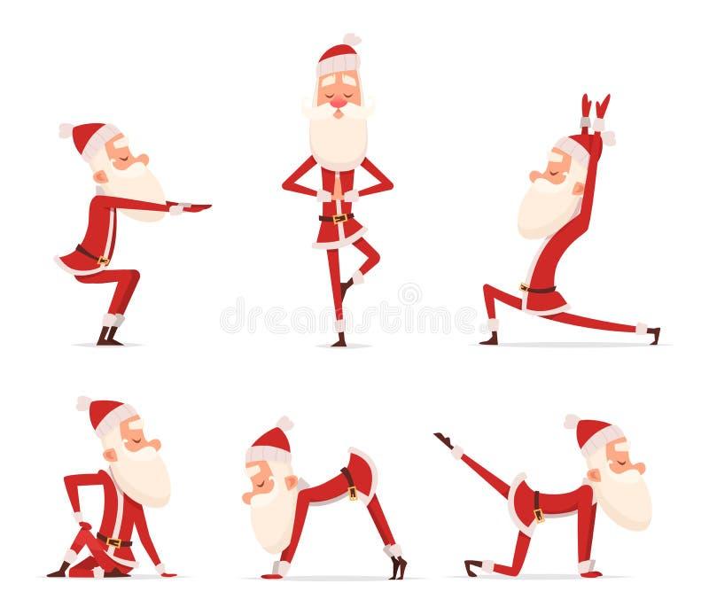 圣诞老人瑜伽姿势 站立在各种各样的圣诞节寒假体育健康字符放松姿势传染媒介逗人喜爱的吉祥人 向量例证