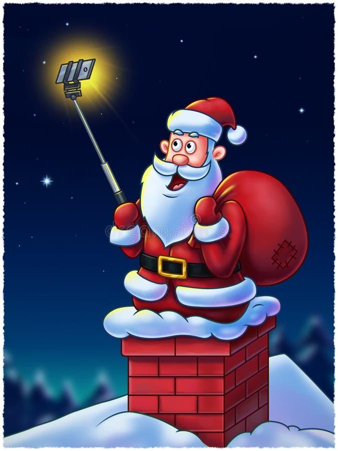 圣诞老人用Selfie棍子 免版税库存照片