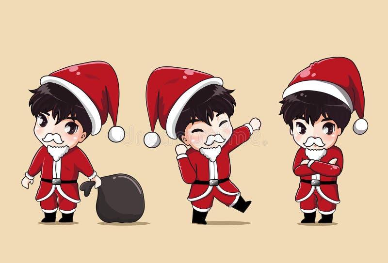 圣诞老人男孩和袋子礼物 向量例证