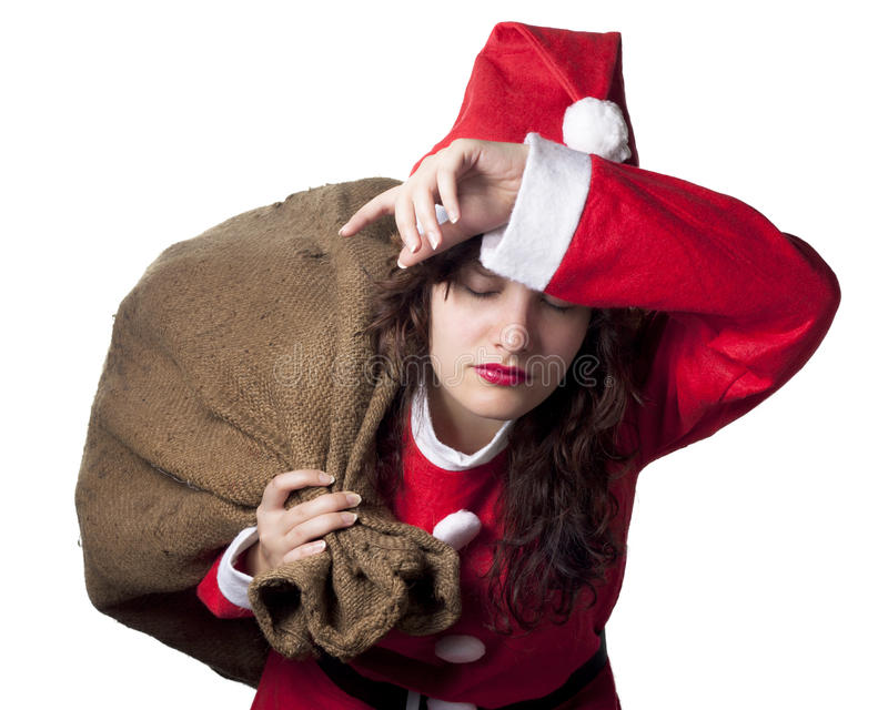 圣诞老人疲倦了妇女 库存图片