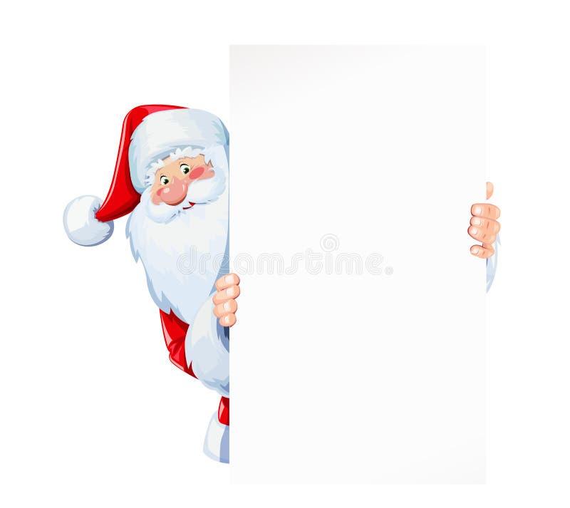 圣诞老人白纸板材举行板料  皇族释放例证
