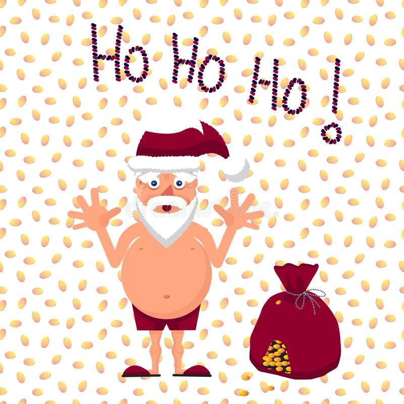 圣诞老人的传染媒介例证与充分礼物袋子的金钱 皇族释放例证