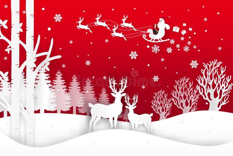 圣诞老人的传染媒介例证来临到镇和鹿在有雪的森林里在冬天季节和圣诞节 设计pap 皇族释放例证