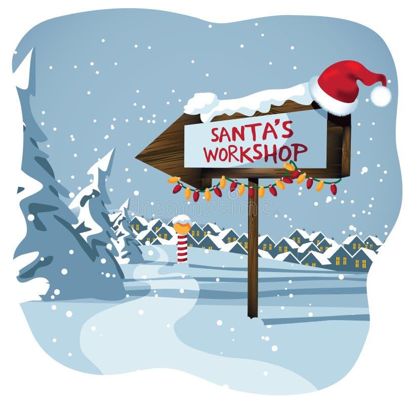 圣诞老人的在北极的车间标志 皇族释放例证