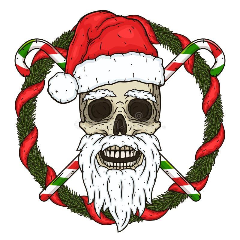 圣诞老人的头骨在圣诞树和横渡的糖果的分支的背景中 圣诞老人头骨 向量例证