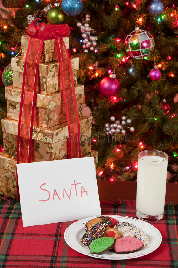 圣诞老人的牛奶和曲奇饼 库存图片