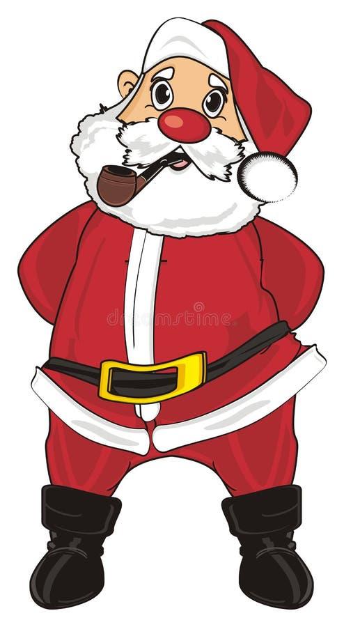圣诞老人立场和烟 向量例证