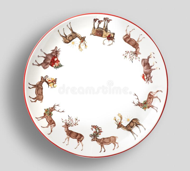 圣诞老人菜盘-简单的现代颜色板材有白色背景 库存照片