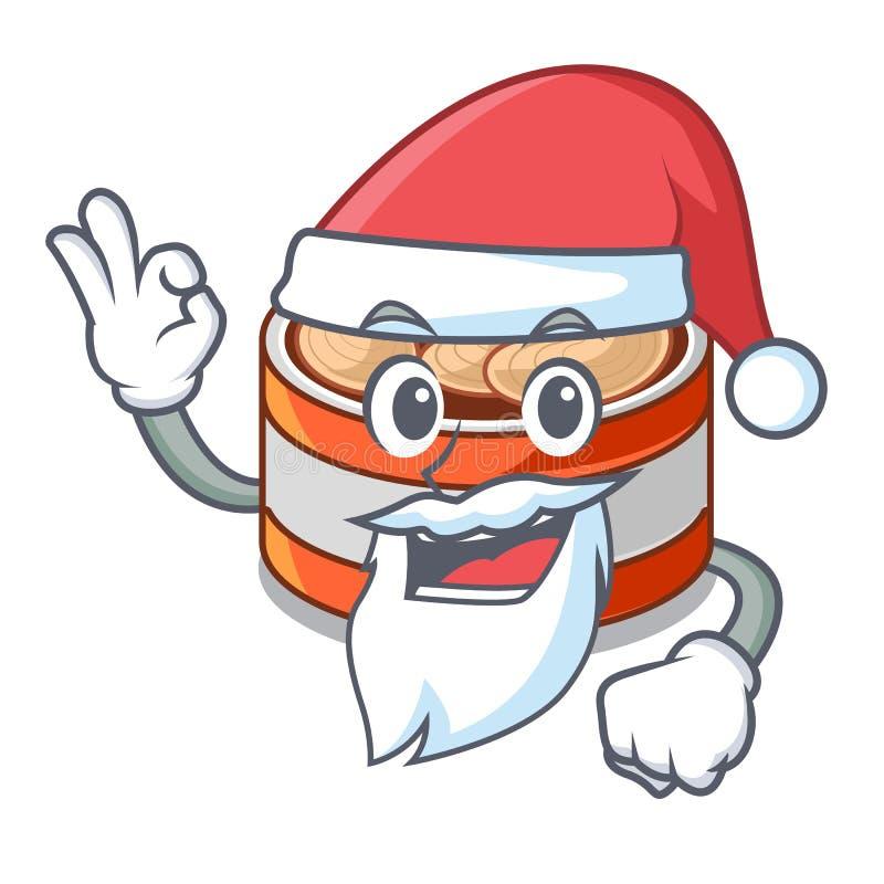 圣诞老人装在动画片厨柜的金枪鱼于罐中 向量例证