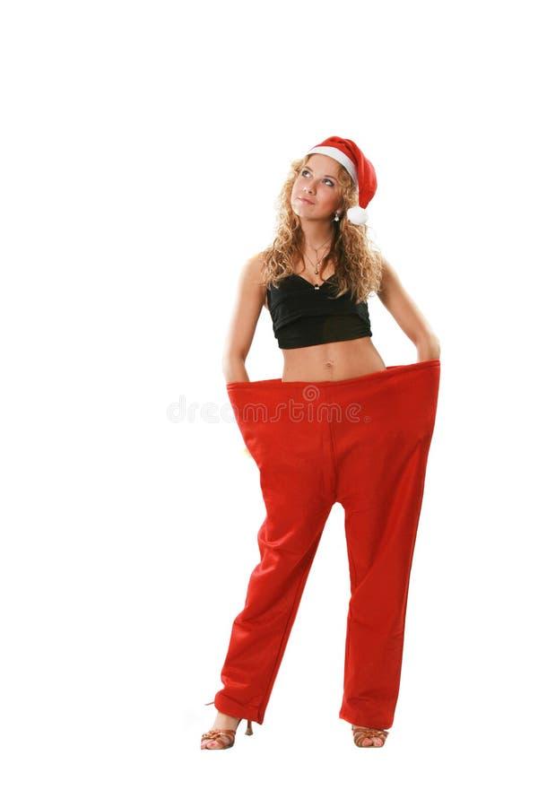 圣诞老人诉讼妇女 库存照片