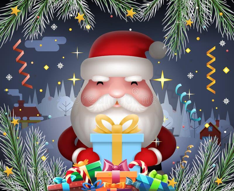 圣诞老人逗人喜爱的新年举行光礼物盒递圣诞夜冬天标志象五彩纸屑丝带贺卡 库存例证